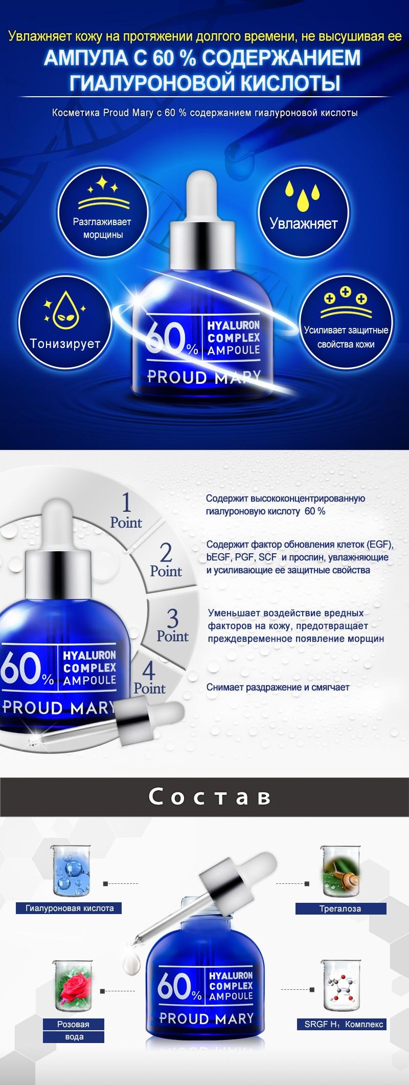 Proud Mary Увлажняющая сыворотка - комплекс гиалуроновой кислоты 60% в ампуле