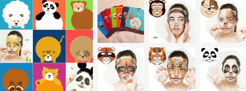 тканевая маска для лица с изображением животных